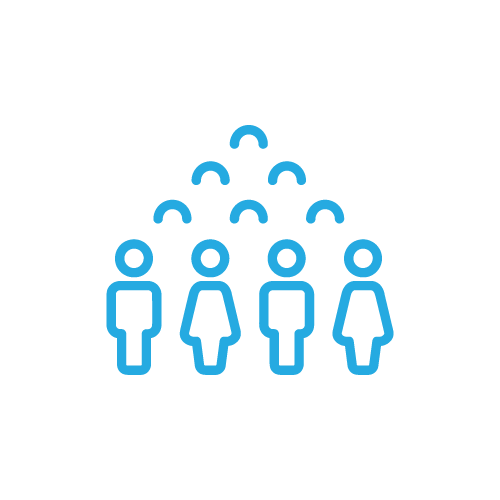 blue graphic icon of people outline